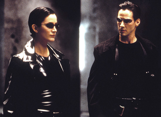 The sunglasses worn by Neo in the Matrix trilogy have made an on-trend comeback: trinity with her sunglasses square