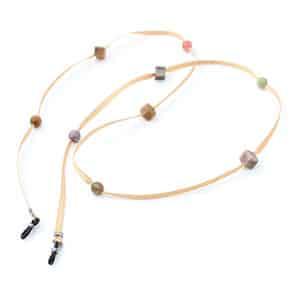 Chaine a lunettes made in france de chez Valrose en ruban et agathes