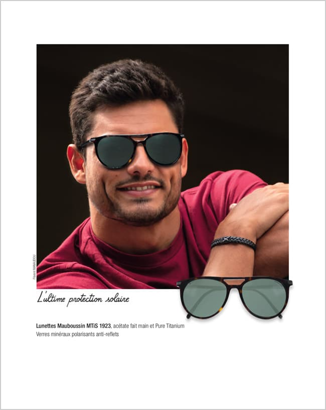 Mauboussin turns its attention to men: with florent manaudouwearing sunglasses